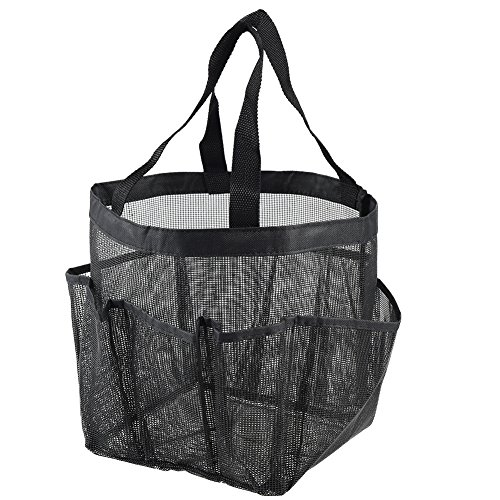 Uarter indossabile Tote per doccia in PVC impermeabile 9-pocket organizer da bagno, grande capacità, nero