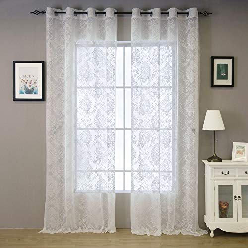 Valea Home Lace Sheer Curtains Grommet Drapes for Bedroom Living Room European Style, 54