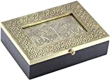 SouvNear 7.5 Inch Metal Sheet and Wooden Jewelry Box with Dancing Elephant Photo Frame and Glass