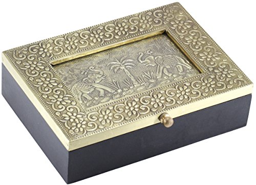 SouvNear 7.5 Inch Metal Sheet and Wooden Jewelry Box with Dancing Elephant Photo Frame and Glass by Benzara