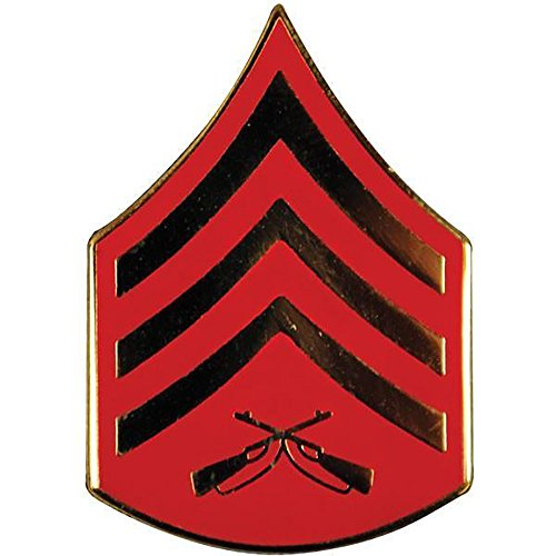 US Marine Corps E5 Rank SGT Sergeant Gold Red Emblem USMC Lapel Hat Pin 3/4