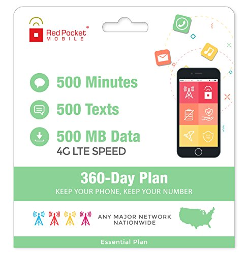 $8.25/Mo Red Pocket Prepaid Wireless Phone Plan + SIM; 500 Talk 500 Text 500MB by Red Pocket Mobile (Image #2)
