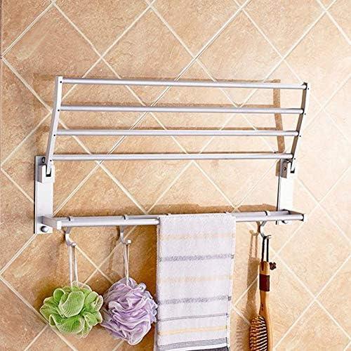Mihify Porte-serviettes de salle de bain pliable en aluminium avec double /étag/ère porte-serviettes 50 cm