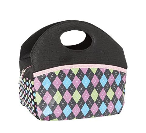 Insulated Lunch Bag Cooler with Front Velcro Pocket and Purse Design. Pretty and Nice! (Black & Argyle - Argyle Purse