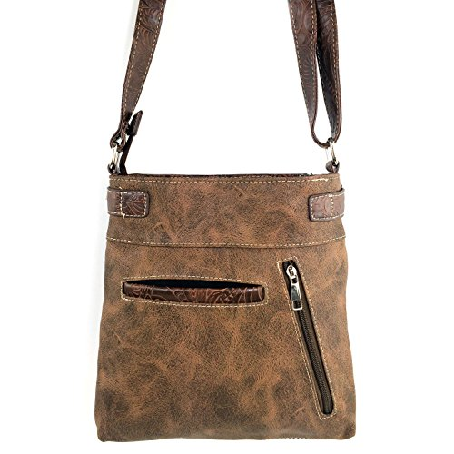 Justin Tan Long West Laser Bag Stone Rhinestone Turquoise Strap Cross with Floral Messenger Brown Purse Tooled Cut Body Gleaming OOqTwrR