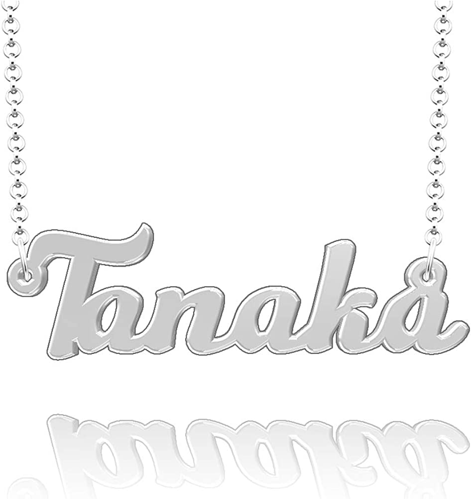 CLY Jewelry Personalized Last Name Necklace Custom Sterling Silver Tanaka Plate Customized Gift for Family