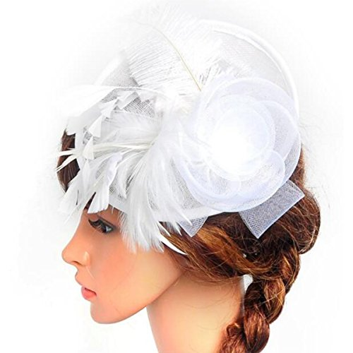 Lanzom® Women Chic Fascinator Hat Cocktail Wedding Party Church Headband Headwear (White)
