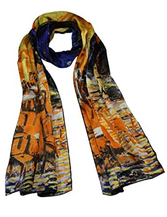 "Dahlia Women's 100% Long Silk Scarf - Van Gogh ""Cafe Terrace at Night"" - Orange"
