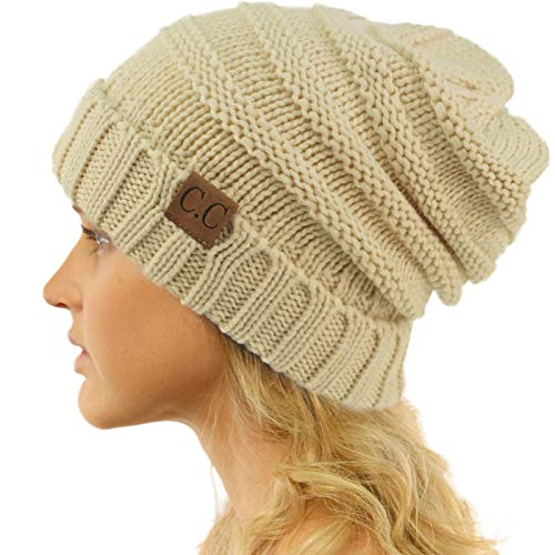 versized Chunky Baggy Stretchy Slouchy Skully Beanie Hat Beige ()