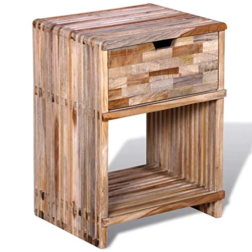 (Nightstand, Bedside Table with Drawer Reclaimed Teak Wood for Living Room Home Bedroom Furniture)