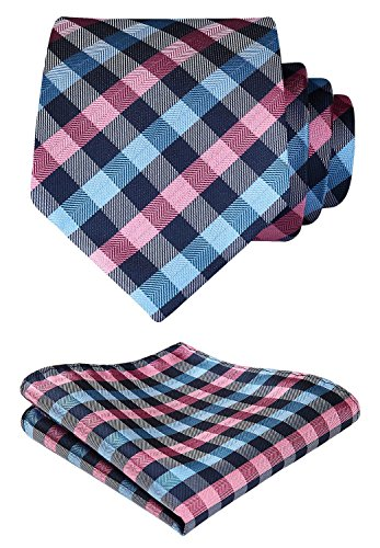 HISDERN Extra Long Plaid Check Tie Handkerchief Men's Necktie & Pocket Square Set