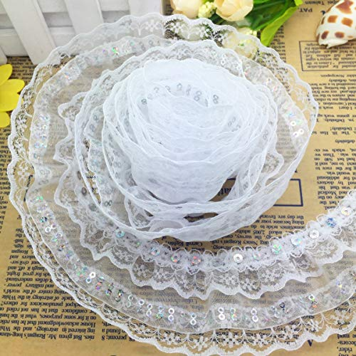 Lace Trim - 5 Yards 4-Layer 50mm Beautiful Pleated Trim Mesh Lace Sewing ()