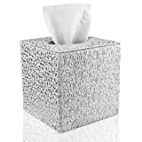 Fanuk Tissue Cover Box Square PU Leather Tissue Holder for Home Office Car (Silver Carving)