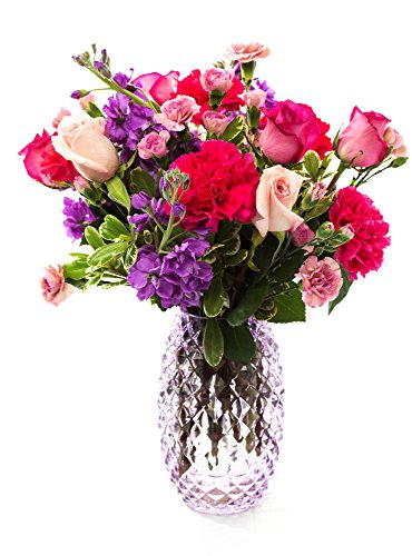 FLWERZ [Spring is Here] Natural Beautiful Hand-crafted Colorful Springtime Mother's Day Bouquet with 8oz clear Glass Vase