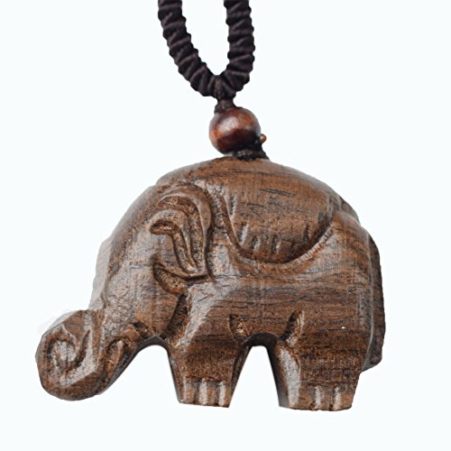 MELOP Handmade Wooden Carving Elephant Pendant Retro Folk for Sweater and Leisure Dressing/Clothing Accessories/Home Decoration Pendant - Wooden Elephant