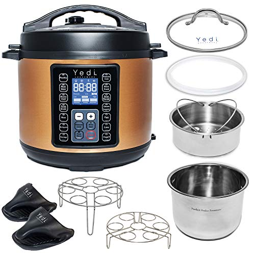 Yedi Total Package 9-in-1 Instant Programmable Pressure Cooker, Deluxe Accessory Kit, Recipes & 2Yr Warranty. Pressure Cook, Slow Cook, Sauté, Egg, Rice Cooker, Yogurt, Steamer, Hot Pot (6 Qt) (Ladle Green)