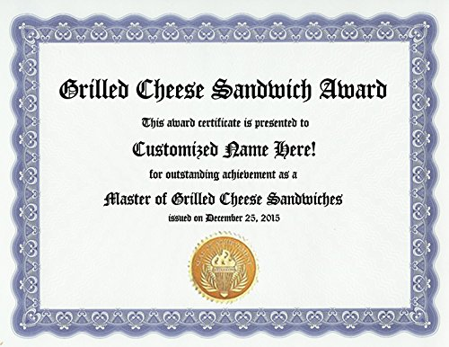 Grilled Cheese Sandwich Award: Personalized Custom Award Certificate (Funny Customized Present Joke Gift - Unique Novelty Item)