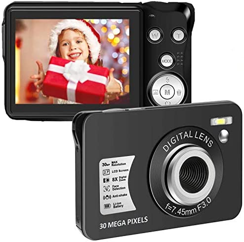30 MP Digital Camera HD Mini Pocket Camera Cheap Camera 2.7 Inch LCD Screen Camera with 8X Digital Zoom Compact Cameras for Adult, Kids, Beginners