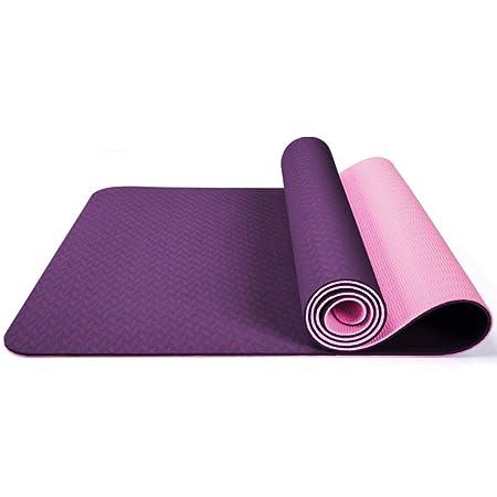 TPE Esterillas de yoga de doble capa de dos colores de 6 mm ...