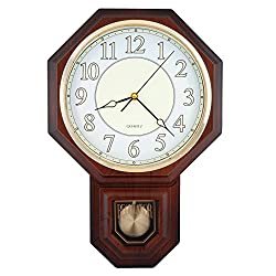 Traditional Schoolhouse Pendulum Luminous Wall Clock Chimes Hourly with Westminster Melody Made in Taiwan, 4AA Batteries Included (PP0258-L Dark Wood Grain)