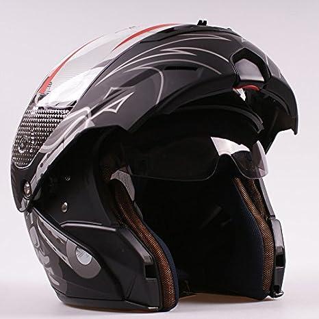 Ama_TrulyStep New Dual/2 Visors Modular Motorcycle Scooter Biker Full Open Face Flip Up Integrated Helmet Matte Black S M L XL (L 59cm ~ 60cm) M05