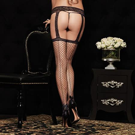 5e70117f6e35b Leg Avenue Fishnet Tights with Seams and Lace Garter Tie: Amazon.co.uk:  Kitchen & Home