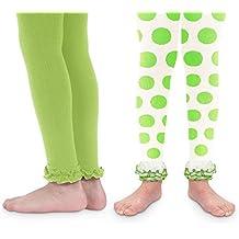 Jefferies Socks Girls Fun Lime Green/Polka Dot St. Patricks Day Ruffle Footless Tights 2 Pack