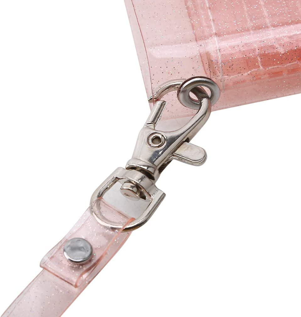 YouCY Transparent Jelly Neck Wallet Lanyard Card Holder Clutch for Women Girls,Pink