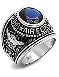 US Air Force Ring - (Stainless Steel w/ Blue Stone) - USAF Military Rings Jewelry - Officers Military