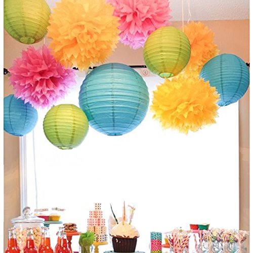 SUNBEAUTY Pack of 11 Mixed Royal Blue Green Paper Lanterns Tissue Paper Pom Pom Flowers for Party Wedding Valentines Nursery Hanging (Hanging Ceiling Decor)