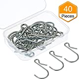 Mtlee Hanging Hooks S Shaped Metal Hooks Clip Hangers with Storage Box for Bathroom Bedroom Office (40)