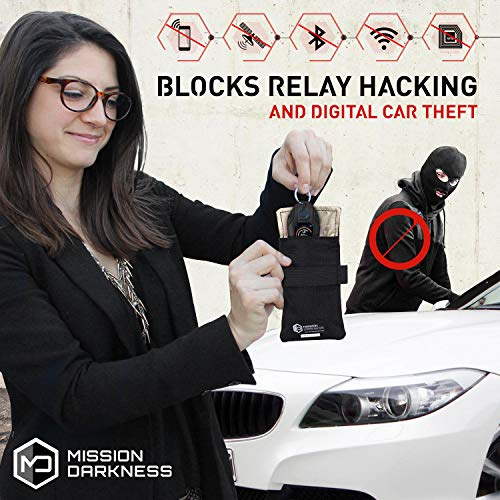 Mission Darkness Faraday Bag for Keyfobs // Device Shielding for Smart Always On Keyfobs for Automobile Owners, Law Enforcement, Military, Executive Privacy, Travel Security, Anti-Hacking Assurance