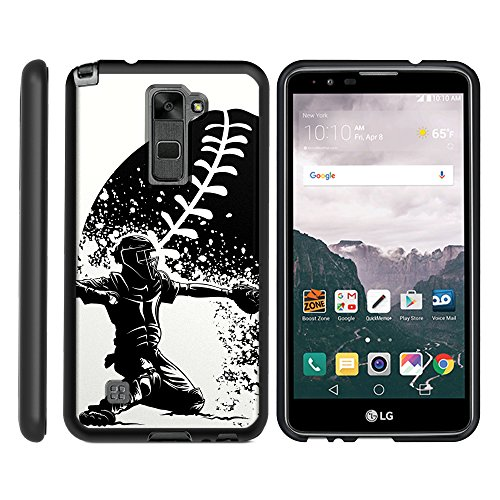 Spot Light Action Art - MINITURTLE Case Compatible w/ LG Stylus 2 Case , LG Stylo 2 Case | LS775| Phone Case, Personalized Perfect Fit Snap on Baseball Catcher in Action