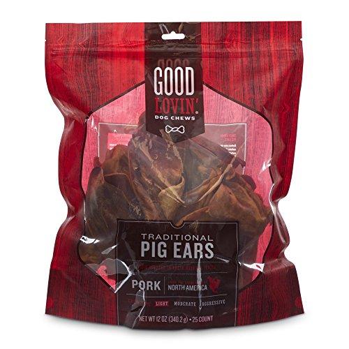 Good Lovin'' Traditional Pig Ear Dog Chews, 12 oz, Count of 25 by Good Lovin'