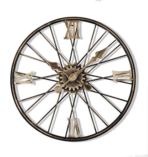 Vintage American Retro Clock - Upuptop 16inch Vintage Retro Design 3D Wrought Iron Decorative Wall Clock Roman Numerals Wheel Shape Art Industrial Style Copper