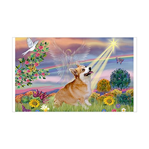 CafePress - Cloud Angel Welsh Corgi Rectangle Sticker - Rectangle Bumper Sticker Car Decal (Corgi Tile)