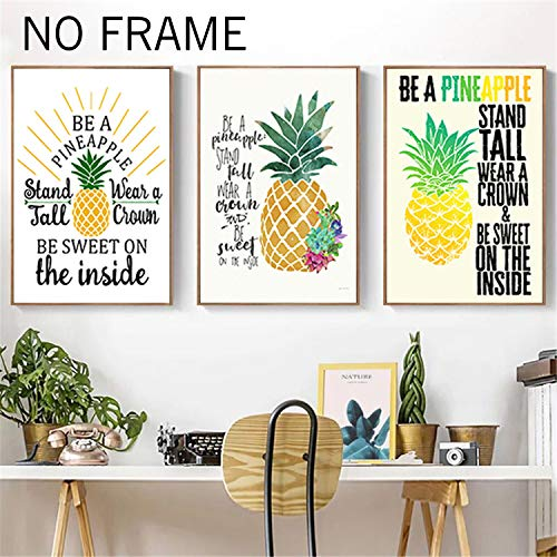 (Eccoo House 3 Pack 12X16 Inch No Frame Pineapple Canvas Be A Pineapple Stand Tall Wear A Crown Be Sweet On Inside Quote HD Prints Poster Canvas Tropical Decorative Art Wall Decor)