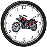 Classic Vintage Motorcycle No.3 Motorcycle Theme Wall Clock by WatchBuddy Timepieces (Black Frame) For Sale