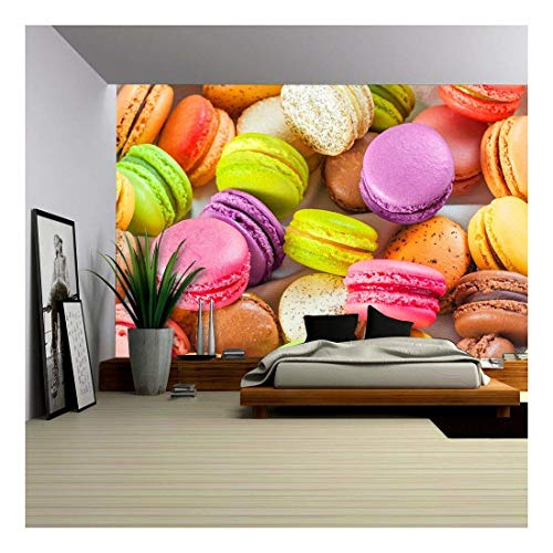 wall26 - Traditional French Colorful Macarons in a Box - Removable Wall Mural | Self-Adhesive Large Wallpaper - 100x144 inches
