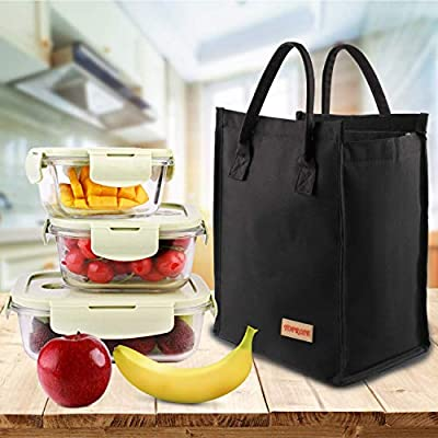 Lunch Bags for Women Men Insulated Lunch Tote Cooler Bag Roomy Reusable Lunch Boxes for School Office Outdoors Meal Prep Bag Lunch Organizer Lunch Holder Hook & Loop Lunch Cooler Bag (Gray): Kitchen & Dining