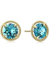 10k Gold Swarovski Crystal Birthstone Dainty Stud Earrings