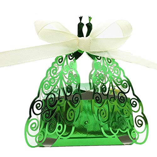 the love 50 Pcs Laser Cut Creative Chocolate Box Wedding Favors Candy Boxes Gifts Box Marriage Party Decors (Shiny Green)