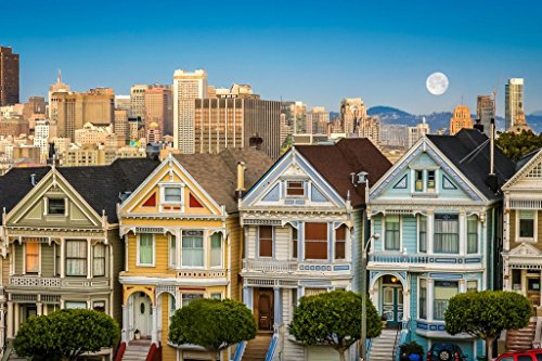 San Francisco Painted Ladies Victorian Homes Photo Poster 36x24 - Victorian Pictures Ladies