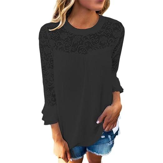 ❤ Camisas Mujer,Modaworld Mujeres 3/4 Sleeve Frill Tops Blusa de Camisa del cordón del Bordado de señoras Camiseta Blusa Casual Sudadera Crop Tops niña: ...