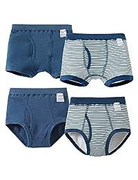 Happy Cherry 4pcs Organic Cotton Trunk Underwear Striped Boxer for 2-6 Years Boy