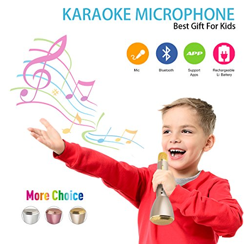 Wireless Kids Karaoke Microphone with Speaker, Portable Bluetooth Microphone Child Karaoke Mic Machine for Kids Adult Singing Party Music Playing, Support Android iOS Smartphone PC(Gold) -