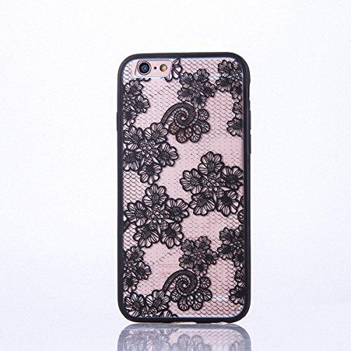 König-Shop Handy Hülle Mandala für Apple iPhone 7 Plus Design Case Schutzhülle Motiv Blüten Cover Silikon Tasche Bumper Schwarz