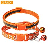 CHBORCHICEN 2-Pack Footprint & Reflective Cat Collar with Bell Basic Dog Cat Collar Buckle Adjustable Polyester Cat Dog Collar or Seatbelts (Small, Orange)