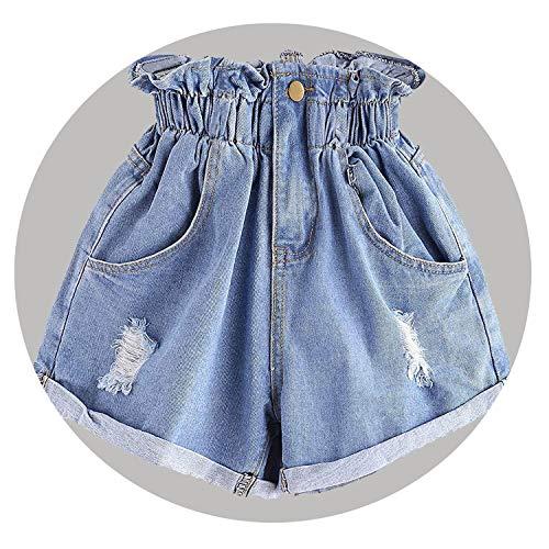 Polaris Tears High Waist Denim Shorts Flower Trousers Denim Shorts Slim Summer Casual Trouser Jeans Female,A,XL,CN -