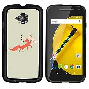 """Be-Star Único Patrón Plástico Duro Fundas Cover Cubre Hard Case Cover Para Motorola Moto E2 / E(2nd gen)( Fox Foxy fumadores Arte Red Tail Bosque Animal"""" )"""